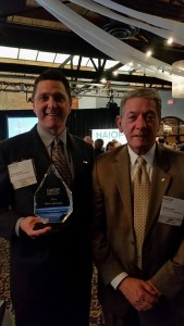 Craig Miller (l) and Dennis Duffy. Miller awarded NAIOP Commercial Real Estate Chapter of Northern Ohio Award for Member of the Year.